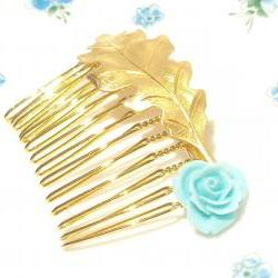 Medium Gold Leaf and Flower Hair Comb - Woodland Collection - Whimsical - Nature - Bridal