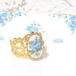 Gold Adjustable Rose Cameo Ring